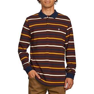 Volcom Men's Gon James Striped Long Sleeve Polo Shirt