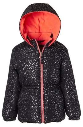 Pink Platinum Metallic Star Print Puffer Jacket Coat