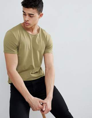 Esprit Longline T-Shirt with Raw Curved Hem