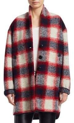 Etoile Isabel Marant Gabrie Wool Flannel Blanket Coat