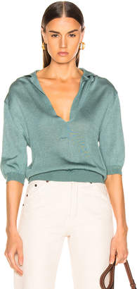 Tibi Short Sleeve Polo Pullover in Egg Blue | FWRD
