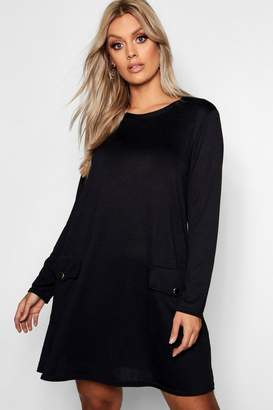 boohoo Plus Gold Button Long Sleeve Knit Shift Dress