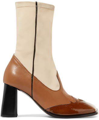 Ellery Leather And Stretch-knit Ankle Boots - Beige