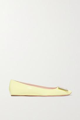 Roger Vivier Trompette Patent-leather Ballet Flats - Pastel yellow
