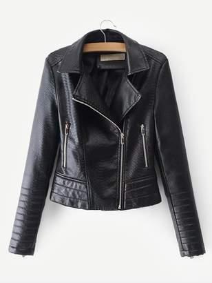 Shein Faux Leather Croc Biker Jacket