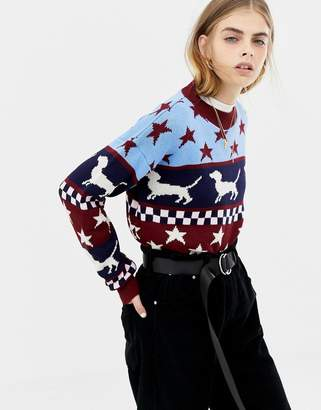 Daisy Street Holidays sweater with sausage dog and stars