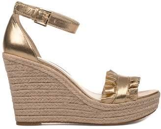 Michael Kors Gold Bella Leather Wedge Sandal