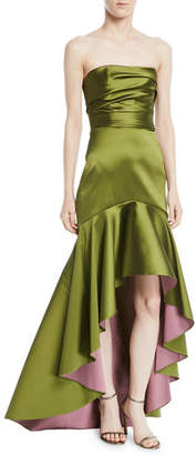 Marchesa Strapless High-Low Two-Tone Mikado Gown
