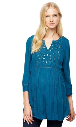 A Pea in the Pod Tile Eyelet Maternity Tunic- Teal Mist