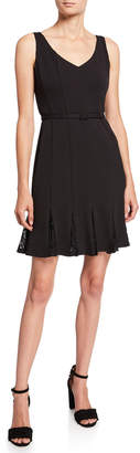 Julia Jordan Seamed Lace Godet Dress w\/ Belt
