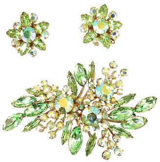One Kings Lane Vintage Beau Jewels Peridot Crystal Brooch Suite