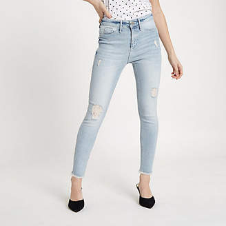 River Island Petite Grey Molly super skinny ripped jegging