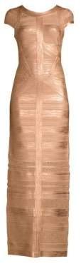 Herve Leger Cap Sleeve Foil & Knit Column Gown