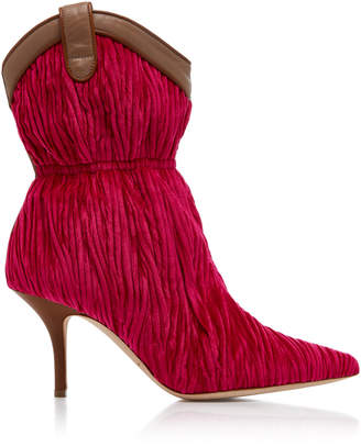Malone Souliers Daisy Leather-Trimmed Velvet Boots