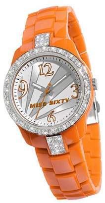 Miss Sixty Ladies Watch Sra008 In Collection Jungle, 3 H and S, Silver Dial and Orange Strap