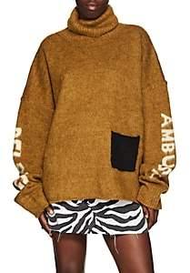 Ambush Women's Logo-Knit Oversized Turtleneck Sweater - Brown