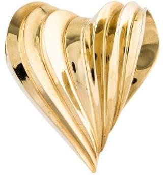 14k Fluted Heart Slide Pendant