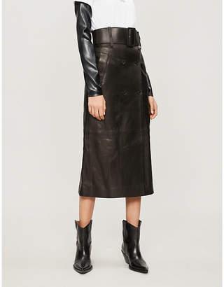 Yang Li Belted leather midi skirt
