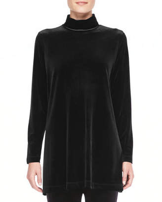 Joan Vass Velour Long-Sleeve Turtleneck Tunic, Plus Size