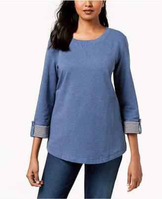 Karen Scott 3/4-Sleeve French Terry Sweatshirt