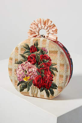 Anthropologie Floral Embroidered Circle Clutch