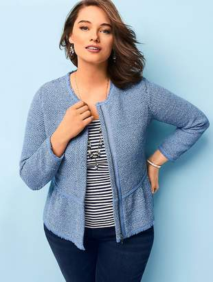 Talbots Womans Exclusive Space-Dyed Tweed Sweater Jacket