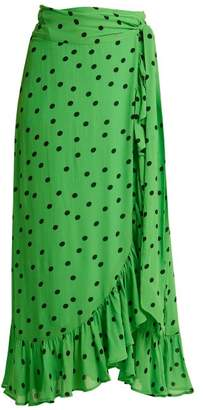Ganni Dainty Polka Dot Print Wrap Front Skirt - Womens - Green