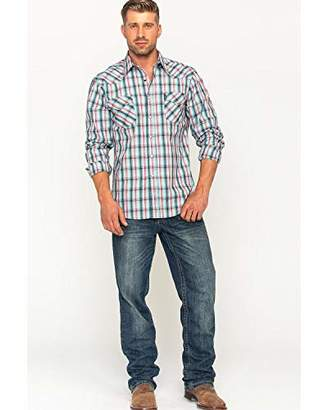 Cinch Men's Modern Fit Long Sleeve Snap Two Flap Pocket Plaid Shirt