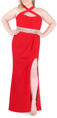 Mac Duggal Plus Size Racerback Keyhole Jersey Halter Gown with Beaded Waist