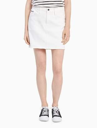 Calvin Klein white denim mini skirt