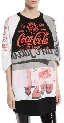 Marc Jacobs Crewneck Elbow-Sleeve Coca-Cola Takeout Colorblocked Sweatshirt Dress