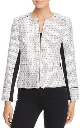 Karl Lagerfeld Paris Fringe-Trimmed Tweed Jacket