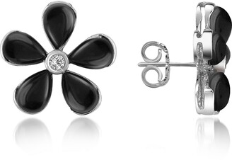 Del Gatto Diamond Gemstone Flower 18K Gold Earrings