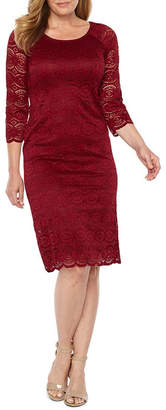 Liz Claiborne 3/4 Sleeve Medallion Lace Sheath Dress