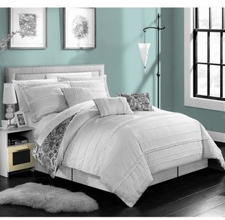 Maeve Chic Home 11-Piece Pleated and Ruffled REVERSIBLE Paisley Floral Print King Bed In a Bag Comforter Set White With sheet set