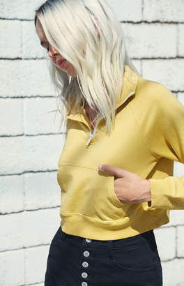 John Galt Mustard Half Zip Pullover Sweatshirt