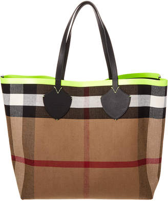 Burberry Giant Reversible Canvas Check & Leather Tote