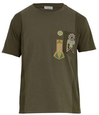 Valentino Patch Detail Cotton Jersey T Shirt - Mens - Khaki