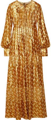 Tory Burch - Bea Metallic Silk-blend Jacquard Gown - Gold $995 thestylecure.com