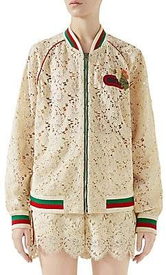 Gucci Women's Flower Lace Bomber Jacket