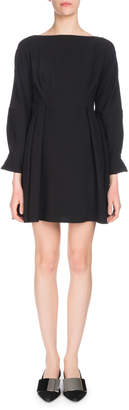 Proenza Schouler Long-Sleeve Cinched-Waist Textured Crepe Mini Dress