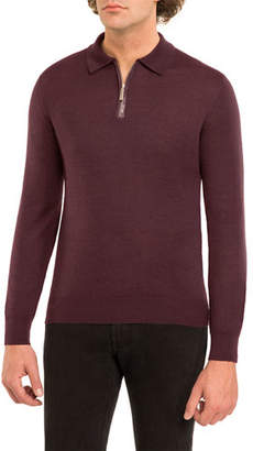 Stefano Ricci Crocodile-Trim Cashmere-Silk Quarter-Zip Sweater