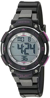 Armitron Sport Women's 45/7058BKPR Purple Accented Digital Chronograph Black Resin Strap Watch