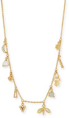 Tai Labradorite & Rock Crystal Dangle Charm Necklace