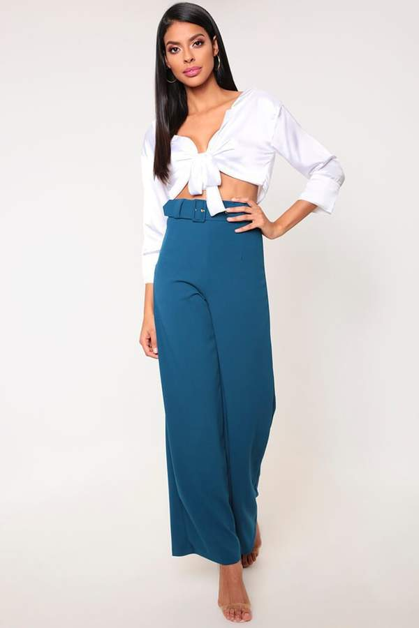 Isawitfirst Teal Belted High Waisted Wide Leg Trousers