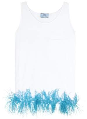 Prada Exclusive to mytheresa.com – Feather-trimmed cotton top