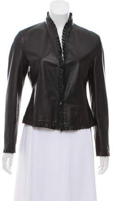 Emporio Armani Ruffled Leather Jacket