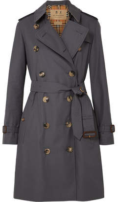 Burberry The Kensington Cotton-gabardine Trench Coat - Gray