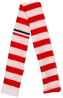Thom Browne Striped Linen-Blend Scarf