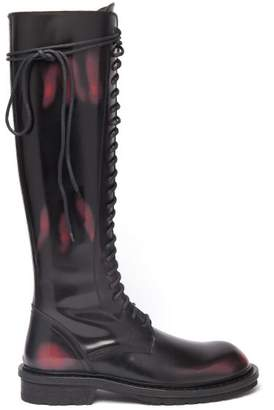 Ann Demeulemeester Knee High Distressed Leather Boots - Womens - Black Red